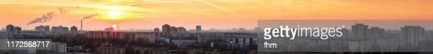 residential district berlin marzahn at sunset (berlin, germany) - ワイドショット ストックフォトと画像