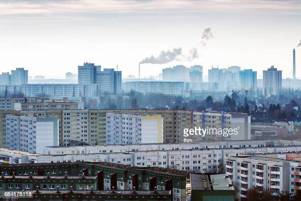 Residential district Berlin Marzahn with smoke stacks and exhausts