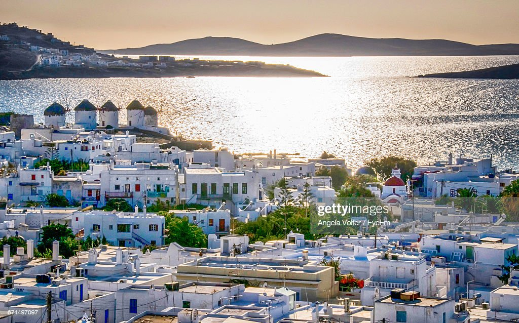 Residential District By Sea At Mykonos : Stock Photo