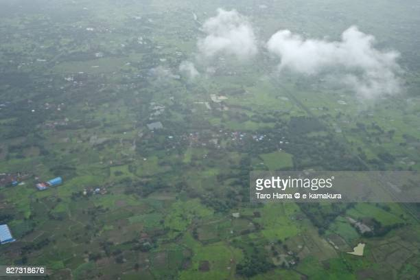 residential district in panvel in india daytime aerial view from airplane - utc−10:00 stock pictures, royalty-free photos & images