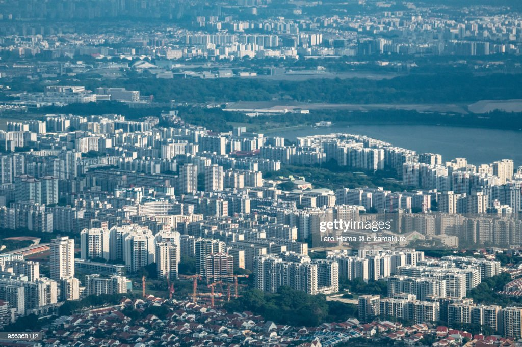 Residential district in Singapore daytime aerial view from airplane : ストックフォト