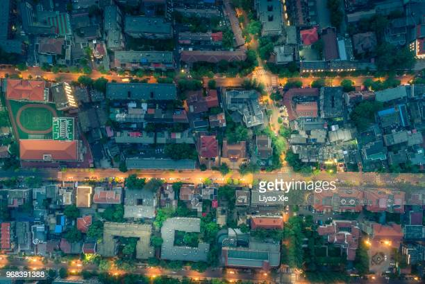 residential district night view - suburban stock pictures, royalty-free photos & images