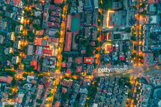 residential district night view - flach stock-fotos und bilder