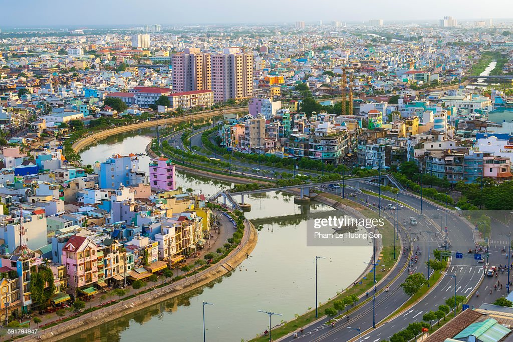 Residential district of Ho Chi Minh City at sunset : Stock Photo