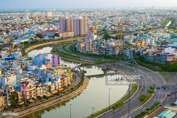 residential district of ho chi minh city at sunset - ho chi minh city stock pictures, royalty-free photos & images