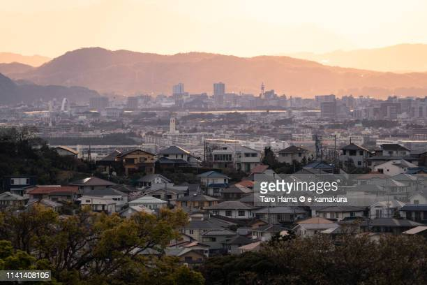 residential district on hill in japan - chigasaki stock pictures, royalty-free photos & images