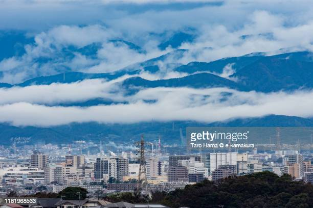 residential districts and mountains in kanagawa prefecture of japan - chigasaki stock pictures, royalty-free photos & images