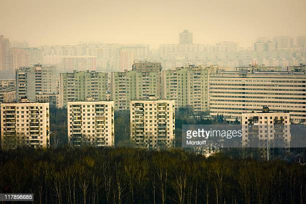 Residential districts with forest in winter