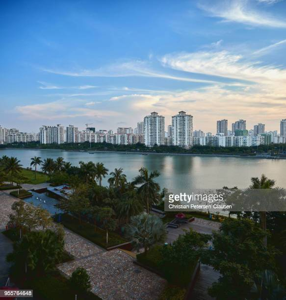 residential highrise buildings on sanya island - haikou stock pictures, royalty-free photos & images