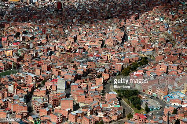 Residential homes stand in this elevated view of La Paz Bolivia on Monday July 8 2013 Central bank President Marcelo Zabalaga sees inflation...