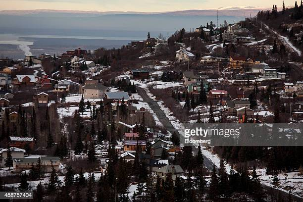 Residential homes stand on the outskirts of Anchorage Alaska US on Wednesday Nov 5 2014 Voters in Anchorage on Nov 4 approved a referendum that voids...