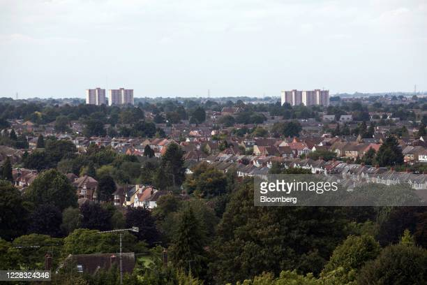 Residential houses and tower blocks stand on the skyline in Luton, U.K., on Wednesday, Sept. 2, 2020. TheBank of Englandis touting thefirepowerit...