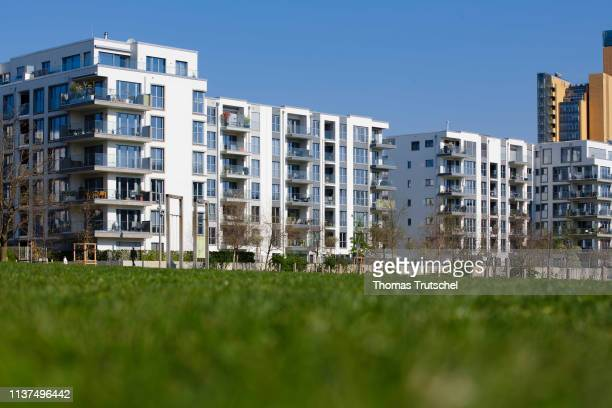 Residential houses are at a park on April 16 2019 in Berlin Germany