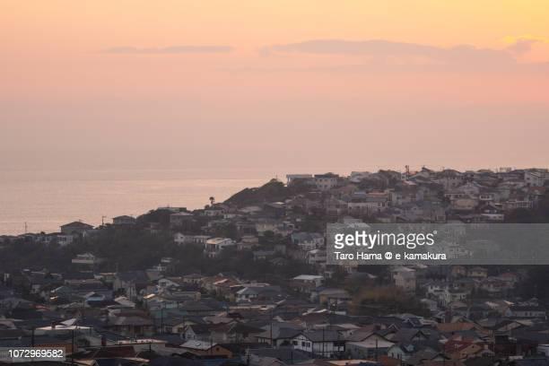Residential houses by Pacific Ocean in Kamakura city in Japan