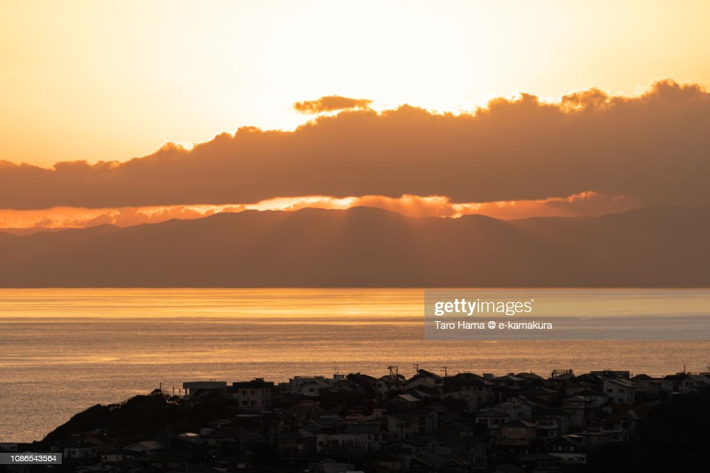 Residential houses by Sagami Bay, Pacific Ocean in Japan in the sunset : Stock Photo