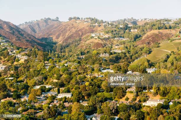 residential houses on the hills in bel air neighborhood, los angeles, california, usa - los angeles stock pictures, royalty-free photos & images