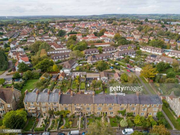 Residential houses stand in this aerial view in Frome, U.K., on Wednesday, Oct. 7, 2020. U.K. House prices rose at their strongest annual pace since...