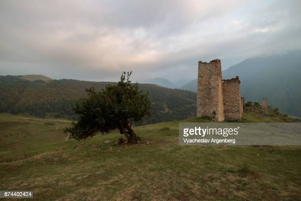 residential medieval complex, ingushetia mountains, caucasus - chechnya stock pictures, royalty-free photos & images