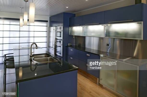 residential modern blue kitchen