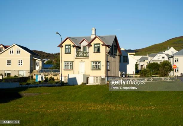 Residential neighborhood in Vestmannaeyjar (Heimaey town), Heimaey Island, Iceland