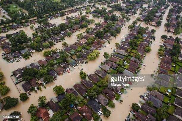 HOUSTON TEXAS TUESDAY AUGUST 29 2017 Residential neighborhoods near the Interstate 10 sit in floodwater in the wake of Hurricane Harvey on August 29...
