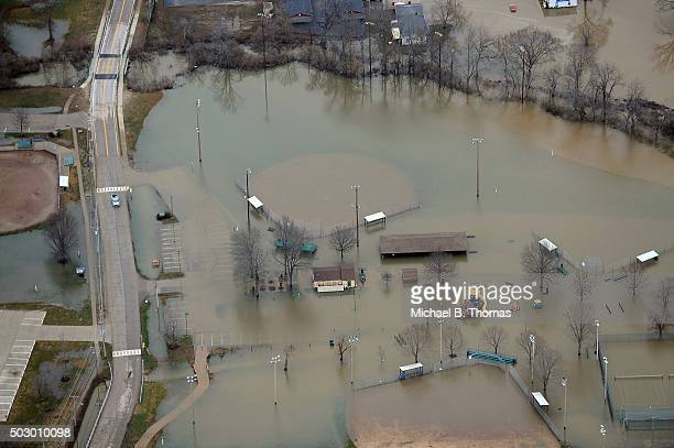 A residential park area is overtaken by flood water from the Meremac River on December 31 2015 in Eureka Missouri The St Louis area and surrounding...