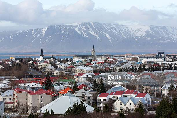 Residential properties stand on the city skyline in Reykjavik, Iceland, on Thursday, April 7, 2016. The center-right coalition late on Wednesday...