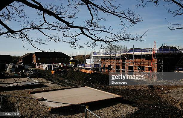 Residential property is seen under construction at a Barratt Homes development in Tyldesley UK on Thursday Feb 23 2012 UK house prices held their...