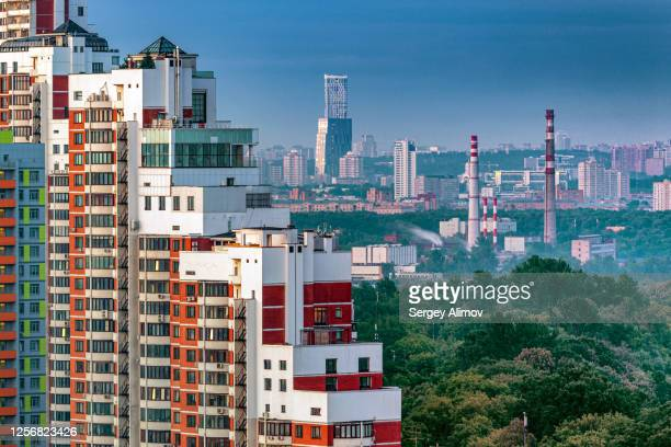 residential, recreational and industrial districts of moscow - district heating plant stock pictures, royalty-free photos & images