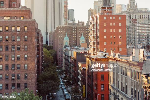 Residential red brick building in Lower East Side, Manhattan, New York City, NY, United States