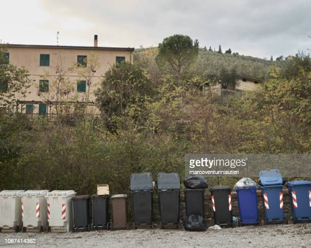 residential rubbish containers in the countryside