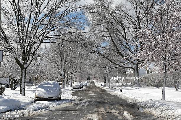 Residential street after a snow storm