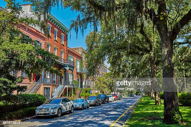 residential street in downtown savannah,georgia - ジョージア州サバンナ ストックフォトと画像