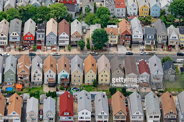 Residential street in New York suburb, New York, United States of America.