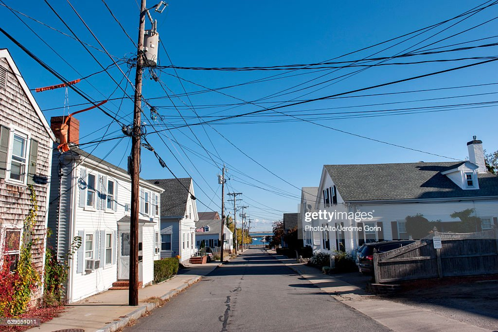 Residential street in Plymouth, Massachusetts, USA : Stock Photo
