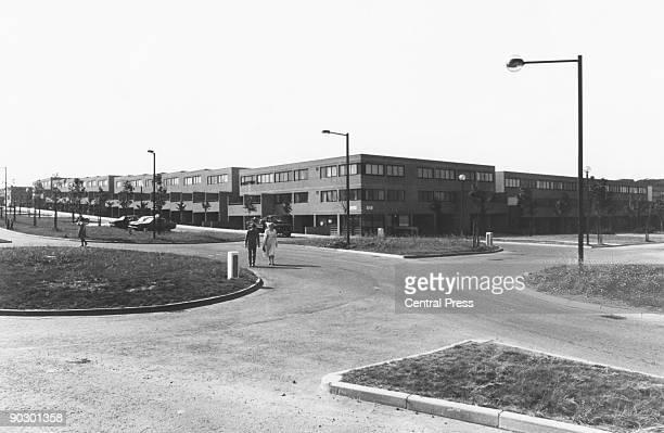 Residential street in the New Town of Milton Keynes, still under construction in Buckinghamshire, October 1978.