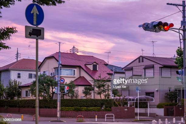 residential street - road signal stock pictures, royalty-free photos & images