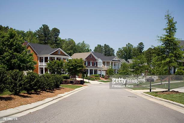a residential street - american culture stock pictures, royalty-free photos & images