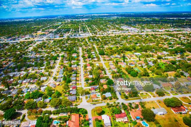 residential suburban neighborhood from above - miami dade county stock photos and pictures