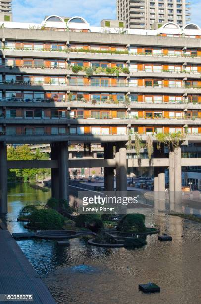 Residential tower and water feature within the Barbican complex.