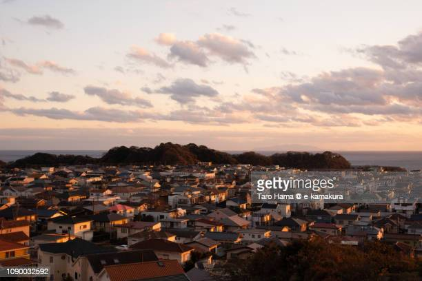 residential town by the sea in kamakura city in japan - 夕暮れ ストックフォトと画像