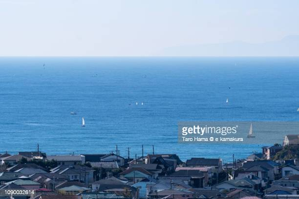 residential town by the sea in kamakura city in japan - shizuoka stock pictures, royalty-free photos & images