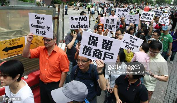 Residents and protesters on conversion of Marina Square West into shopping outlets for mainlanders Ap Lei Chau The protest is organised by People...