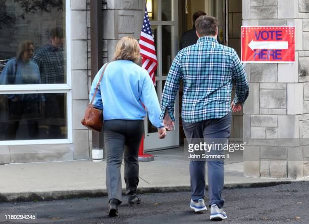 Residents arrive at their polling place to cast votes at St Paul Methodist Church November 5 2019 in Louisville Kentucky Gov Matt Bevin a strong ally...