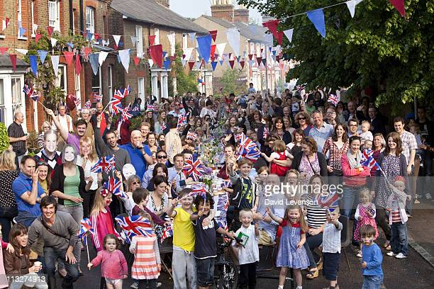 Residents at a Royal Wedding Street Party celebrate the marriage of Prince William and Catherine Middleton in Chapel Street in Berkhamsted on April...