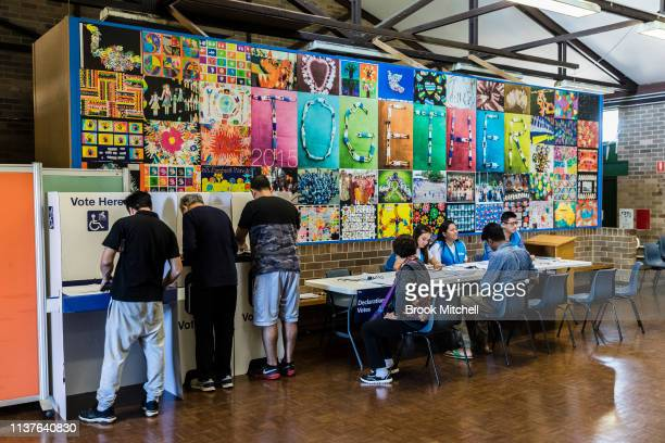 Residents cast their vote at Hurstville Public School in the seat of Kogarah on March 23 2019 in Sydney Australia The 2019 New South Wales state...