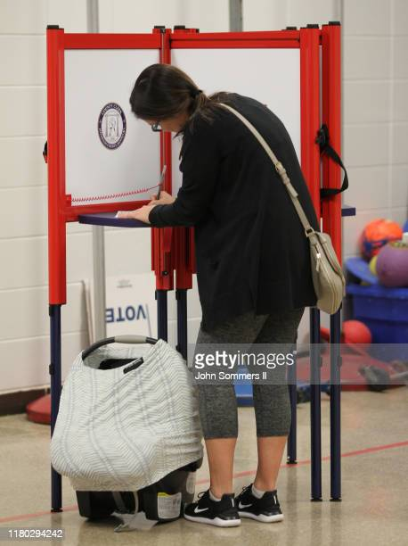 Residents cast votes at Dunn Elementary School November 5 2019 in Louisville Kentucky Gov Matt Bevin a strong ally of President Donald Trump faces a...