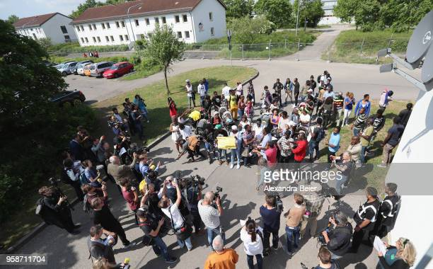 Residents come together for a spontaneous protest against the centre at the Bavarian Transit Centre Manching/Ingolstadt for asylumseekers on May 15...