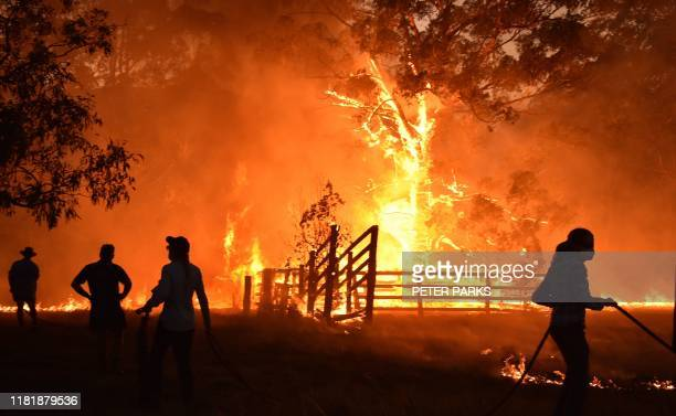 Residents defend a property from a bushfire at Hillsville near Taree, 350km north of Sydney on November 12, 2019. - A state of emergency was declared...
