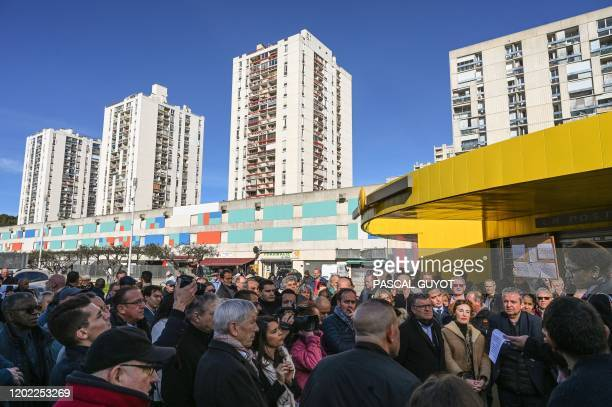 Residents from the underprivileged Pissevin district in Nimes, southern France, demonstrate on February 21 after a shoot out amongst drug dealer and...